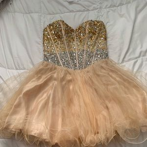 Bejeweled prom dress (in silver/gold/Champaign)